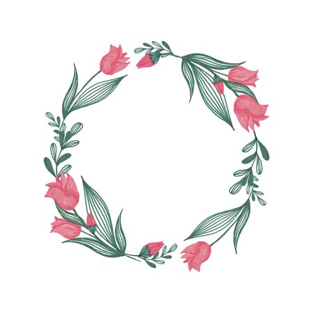 Floral Wreath Hand-Painted Spring Illustration
