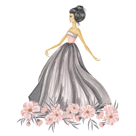 Hand-Painted Fashion Girl With Flowers Illustration