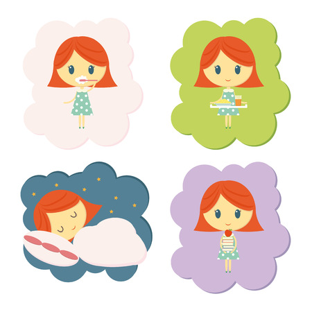 Pictures showing a girl's daily routine. Illustration