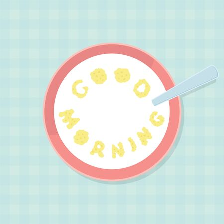 lending: Good Morning. Letters by Corn Flakes Flat Illustration