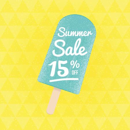 15: Summer Sale 15% off. Vector triangular background with ice-cream.
