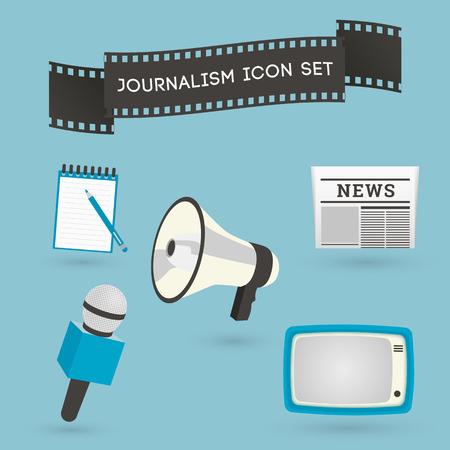 rueda de prensa: Conjunto de iconos del periodismo. Los medios de comunicaci�n y los s�mbolos conceptuales conferencia de prensa en estilo plano. Vectores