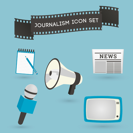 accreditation: Set of journalism icons. Mass media and press conference concept symbols in flat style. Illustration