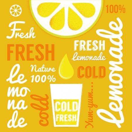 Lemon with glasses of lemonade or cocktail. Typography poster. Vector illustration