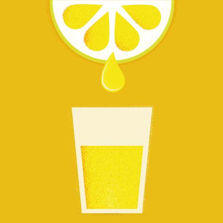 lemonade: Lim�n con vasos de limonada o c�ctel. Ilustraci�n vectorial