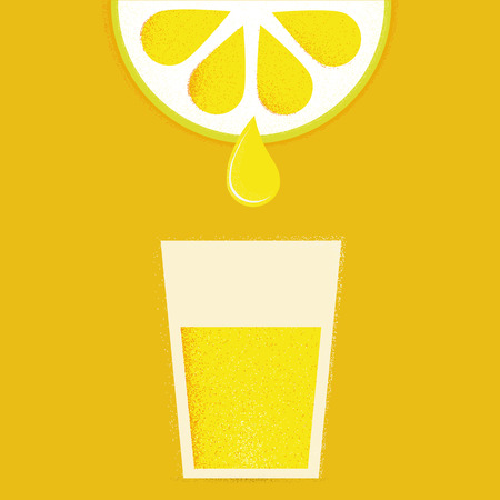Lemon with glasses of lemonade or cocktail. Vector illustration
