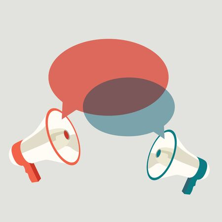 speech icon: Two megaphones speech templates for text. Vector illustration Illustration