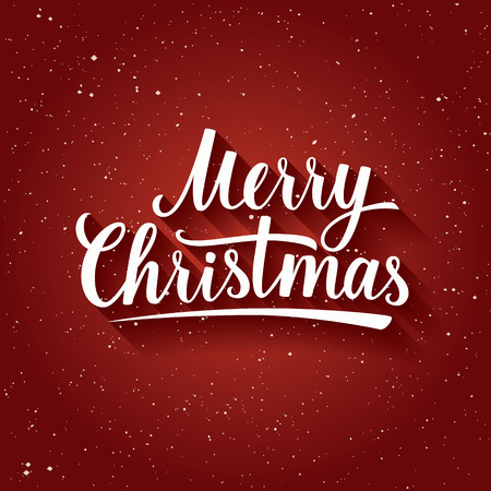 merry: Beautiful Lettering of Merry Christmas on red color background with snowflakes. Greeting Card.