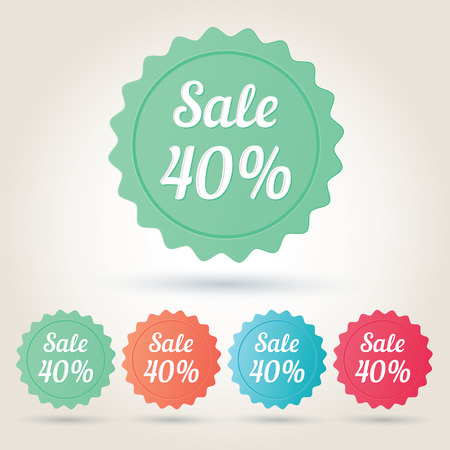 40: Vector sale 40% badge sticker.