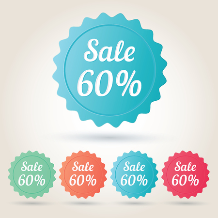 60: Vector sale 60% badge sticker. Illustration