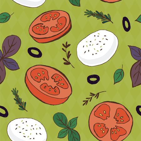 mozzarella: Tomato and mozzarella seamless pattern