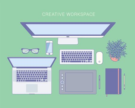 workspace: Workspace Top View. Vector illustration