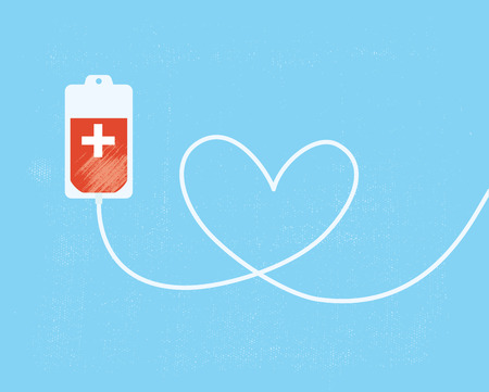 donate: A blood donation bag with tube shaped as a heart.  Illustration