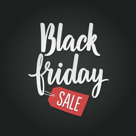 schwarz: Black Friday Kalligraphische Design von Werbeplakaten Vektor-Vorlage. Insgesamt Verkauf Discount Banner Retro Vintage-Stil.