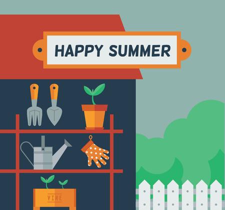 bag of soil: Happy Summer. Garden time. Vector flat illustration.