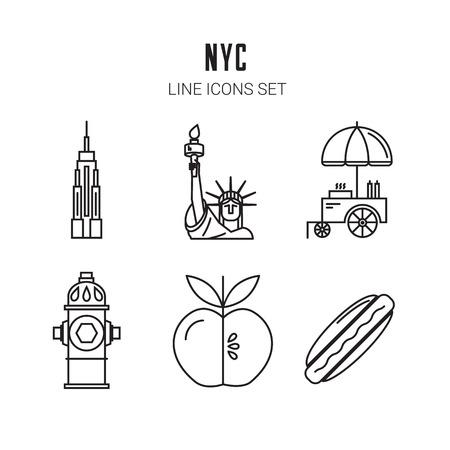perro caliente: Nueva York. Iconos de línea. Vectores