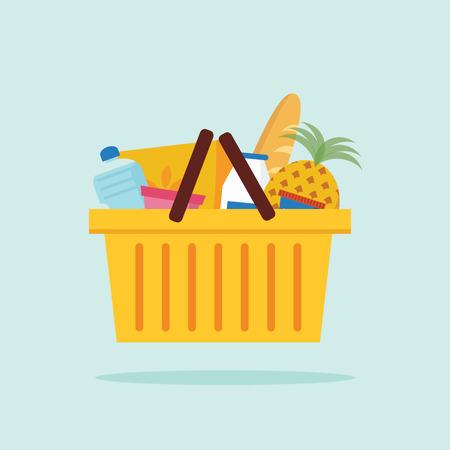 Shopping basket with foods. Flat vector illustration.  Çizim
