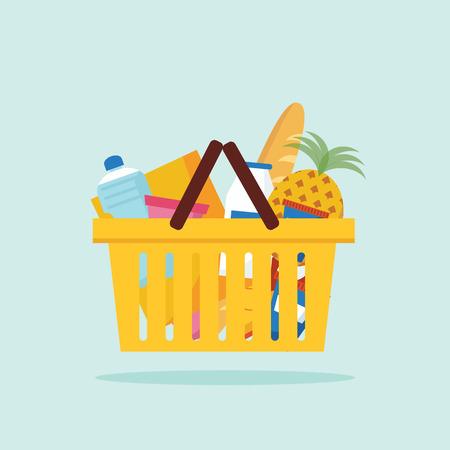 bread basket: Shopping basket with foods. Flat vector illustration.  Illustration