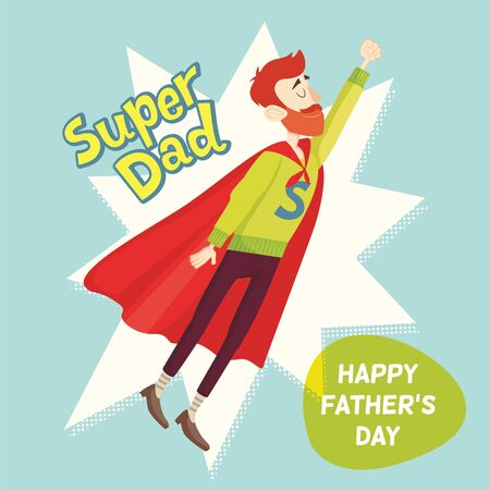 father with child: Super Dad. Fathers Day Greeting Card. Vector illustration. EPS 10 Illustration