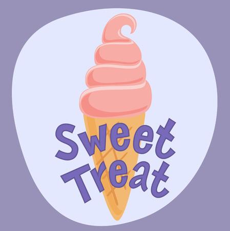 gelati: Poster Sweet Treat with ice cream. Vector illustration. EPS 10