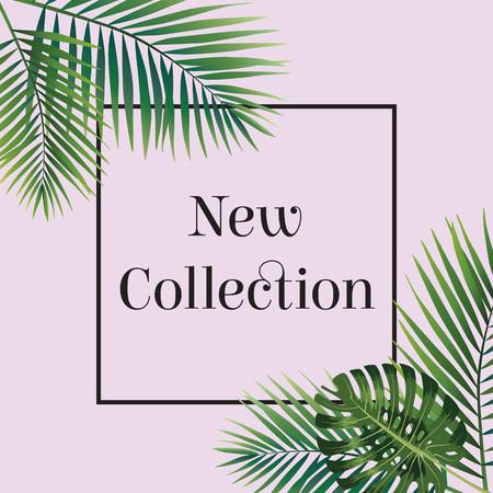 Hoja de palma. Nuevo cartel de colección. Web banner o cartel para el comercio electrónico, tienda de cosméticos en línea, la moda y el salón de belleza, tienda. Ilustración del vector. eps10