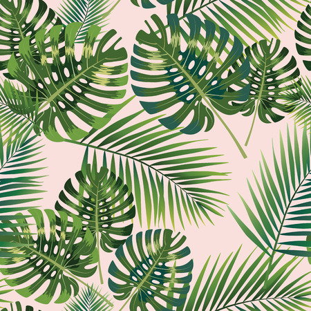 Palm Tropical leaves seamless pattern. Vector illustration. eps10 Vettoriali