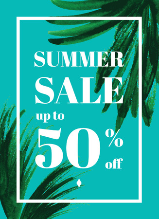 webbanner: Summer sale up tu 50 per cent off. Web-banner or poster with watercolor palm leaves. EPS 10
