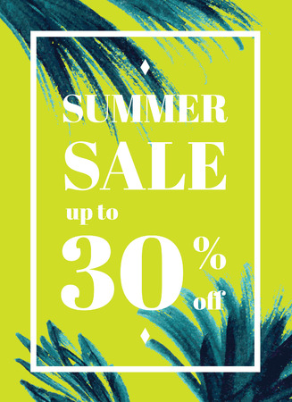 webbanner: Summer sale up tu 30 per cent off. Web-banner or poster with watercolor palm leaves. EPS 10