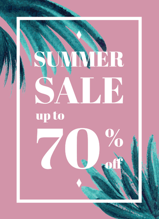per cent: Print Summer sale up tu 70 per cent off. Web-banner or poster with watercolor palm leaves. EPS 10