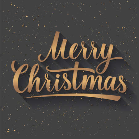 dec  25: Gold Lettering of Merry Christmas on grey color background with Light Rays. Greeting Card. Vector illustration EPS 10