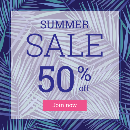 per cent: Summer sale up tu 50 per cent off. Web-banner or poster with watercolor palm leaves.