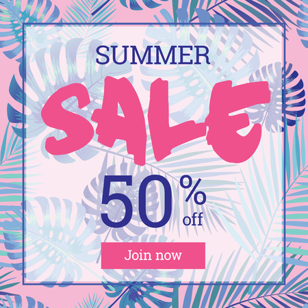 webbanner: Summer sale up tu 50 per cent off. Web-banner or poster with watercolor palm leaves.
