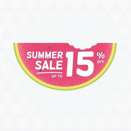 Summer Sale 15 per cent off. Vector triangular background with watermelon. Çizim