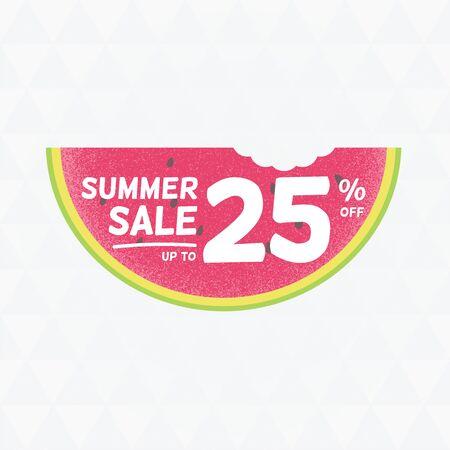 Summer Sale 25 per cent off. Vector triangular background with watermelon. Çizim
