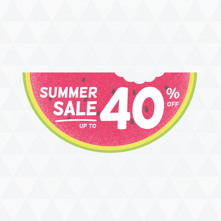 Summer Sale 40 per cent off. Vector triangular background with watermelon.