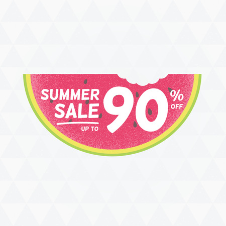 per cent: Summer Sale 90 per cent off. Vector triangular background with watermelon.