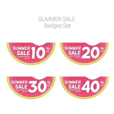 Summer Sale watermelon badges set. Çizim