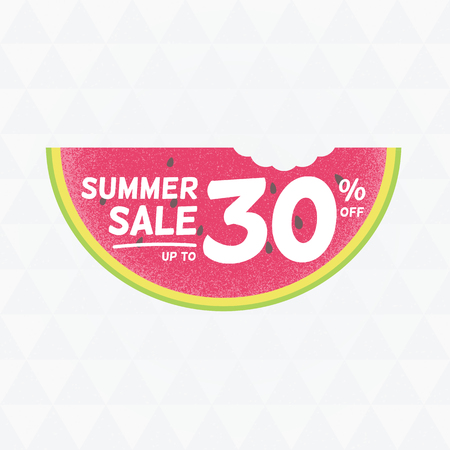 Summer Sale 30 per cent off. Vector triangular background with watermelon.