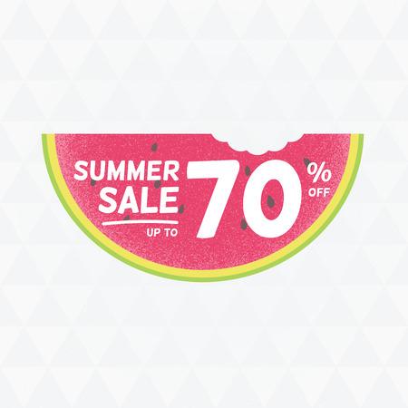 Summer Sale 70 per cent off. Vector triangular background with watermelon. Çizim