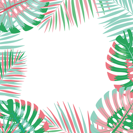 Palm leaves background.