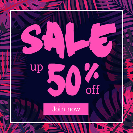 Summer sale. Web-banner or poster with palm leaves. Çizim