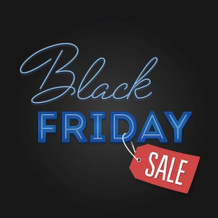 Black Friday Sale retro light frame. Neon design. Total Sale Discount Banner retro vintage style. Vector illustration