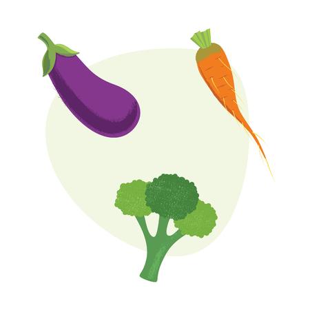 Fresh Vegetables carrots, broccolieggplant Vector illustration Eps10