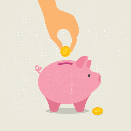 Hand down a coin in a piggy Bank. Vector illustration eps10 Çizim