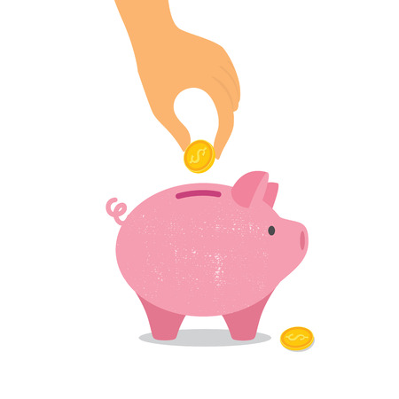 Hand down a coin in a piggy Bank. Vector illustration eps10 Illustration