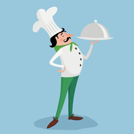Chef with plate. Vector illustration eps 10 Çizim