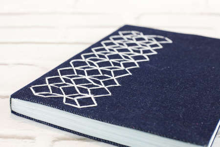 Handmade notebook with hexagonal embroidery fabric cover