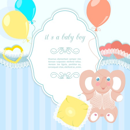 blue baby frame with elephant, small pillow, balloons Vector