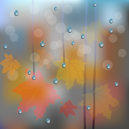 rain window: blurred autumn background with leaves and rain drops on window Illustration