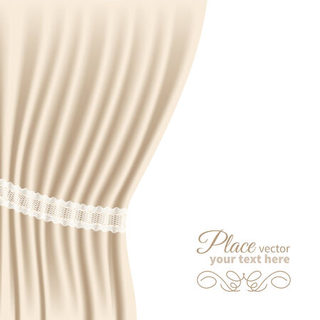 roll curtains: Background with cream velvet curtain. Vector illustration.